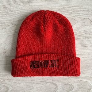 Shadow Hill red beanie hat toque logo unisex